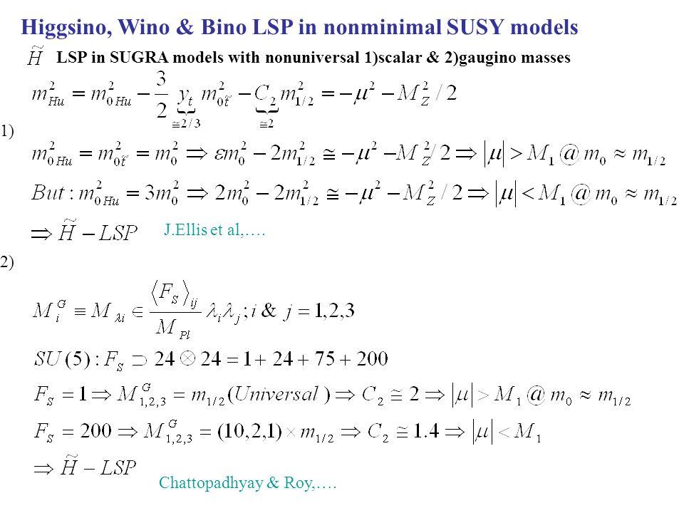 Higgsino, Wino & Bino LSP in nonminimal SUSY models LSP in SUGRA models with nonuniversal 1)scalar & 2)gaugino masses 1) J.Ellis et al,….
