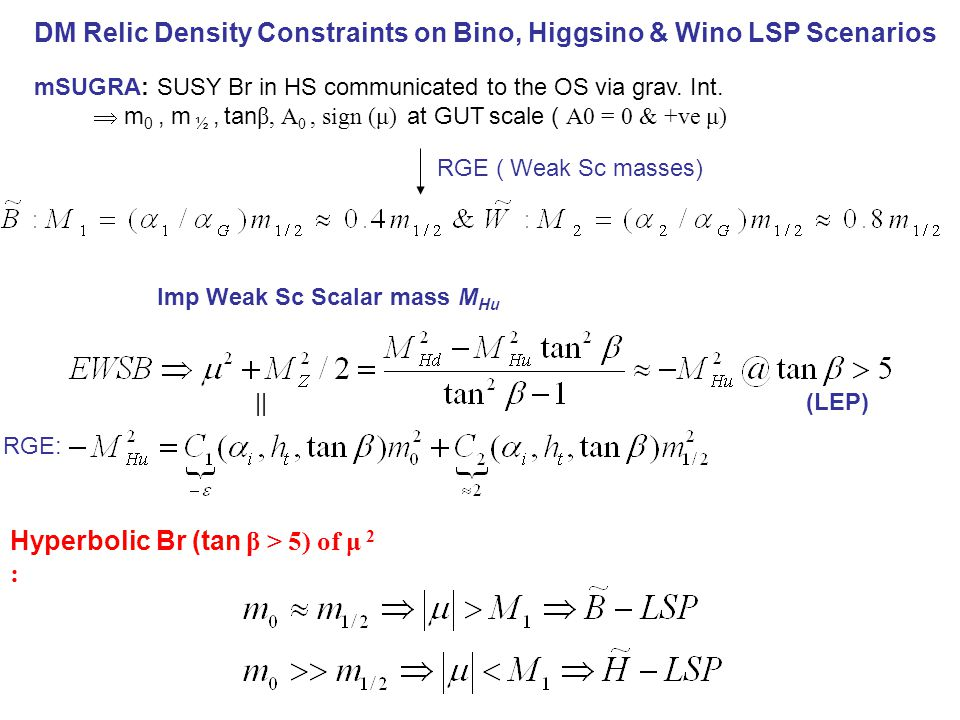 DM Relic Density Constraints on Bino, Higgsino & Wino LSP Scenarios mSUGRA: SUSY Br in HS communicated to the OS via grav. Int.  m 0, m ½, tan β, A 0