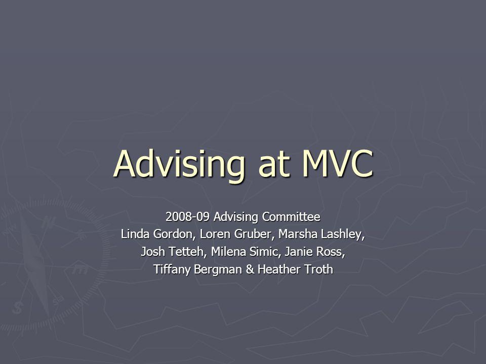 Advising at MVC 2008-09 Advising Committee Linda Gordon, Loren Gruber, Marsha Lashley, Josh Tetteh, Milena Simic, Janie Ross, Tiffany Bergman & Heather Troth