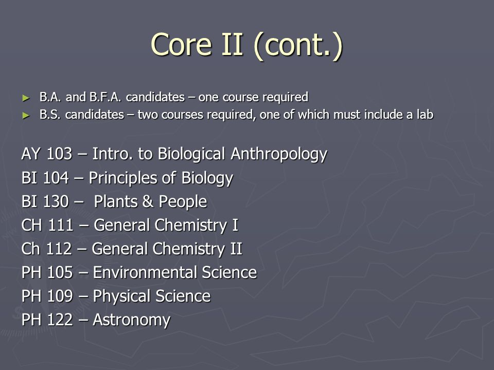 Core II (cont.) ► B.A. and B.F.A. candidates – one course required ► B.S.