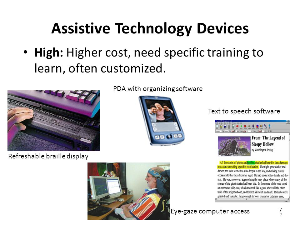 Assistive Technology Devices High: Higher cost, need specific training to learn, often customized.