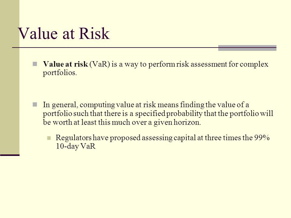 Value at Risk Value at risk (VaR) is a way to perform risk assessment for complex portfolios.