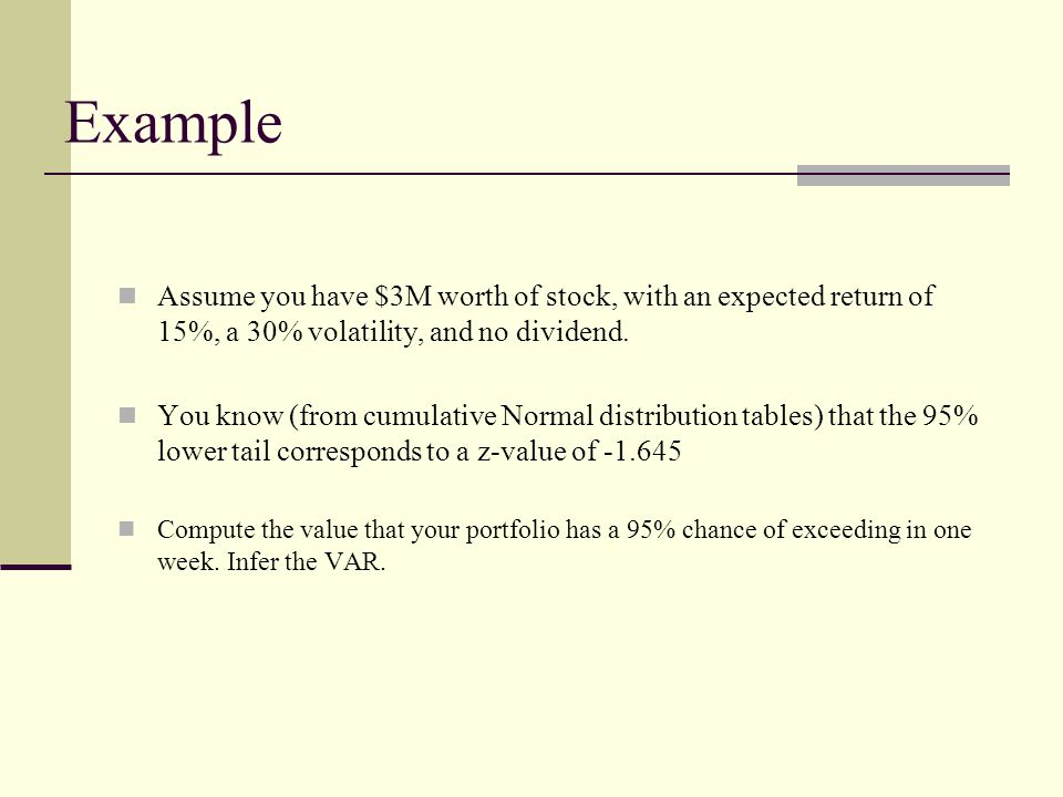 Example Assume you have $3M worth of stock, with an expected return of 15%, a 30% volatility, and no dividend.