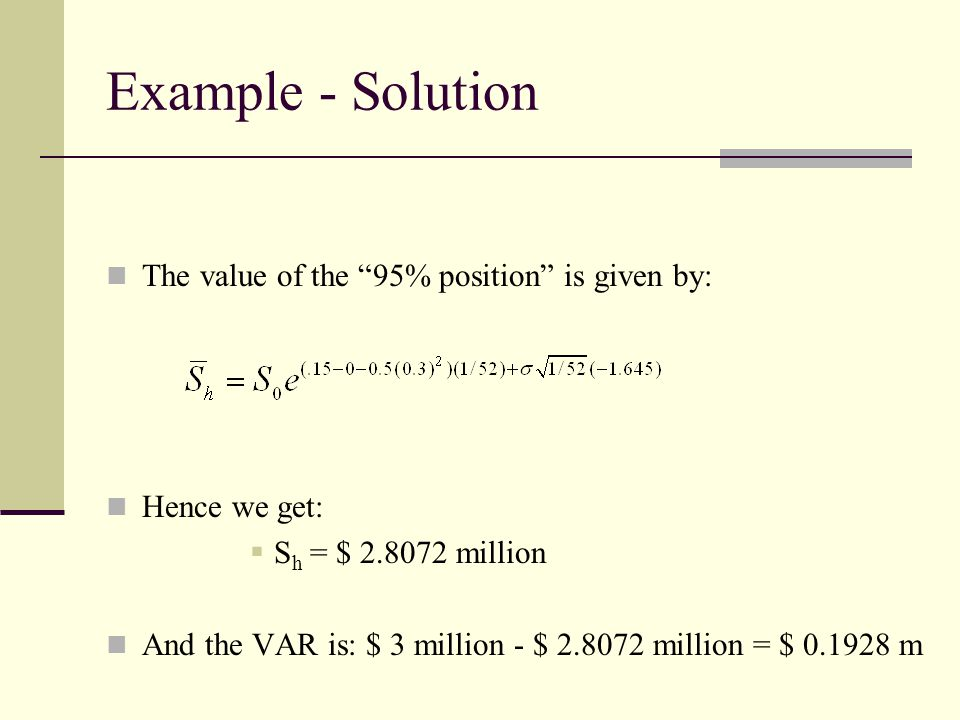 Example - Solution The value of the 95% position is given by: Hence we get:  S h = $ 2.8072 million And the VAR is: $ 3 million - $ 2.8072 million = $ 0.1928 m