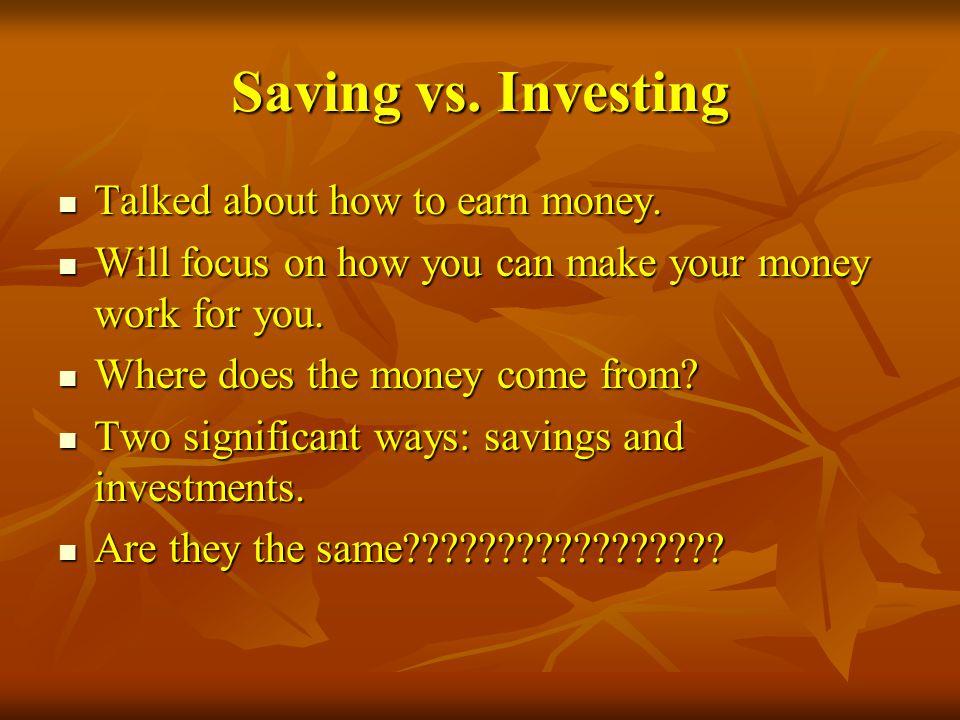 Savings: Money set aside for a short-term goals.Money set aside for a short-term goals.