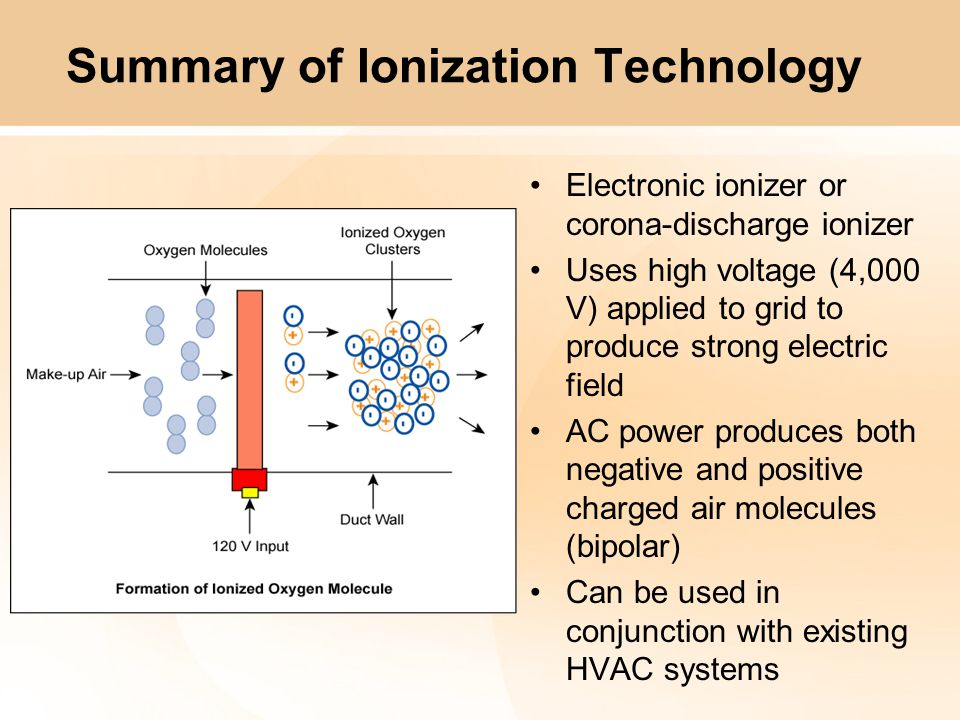Summary of Ionization Technology Liturature states 1,000 to 2,000 ion clusters (reactive oxygen clusters) are formed per cubic centimeter Ions have fairly short life span (seconds) Typically negative ions that are produced react with positive ions in air stream but positive ions also react with some elements Sweet or Clean smell is actually ozone (O 3 ) that is produced…which is not desired in high quantities (< 100 ppb for 8 hours - OSHA)
