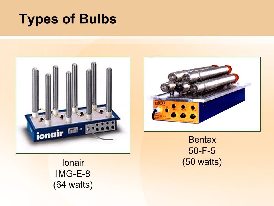 Ionair IMG-E-8 (64 watts) Bentax 50-F-5 (50 watts) Types of Bulbs