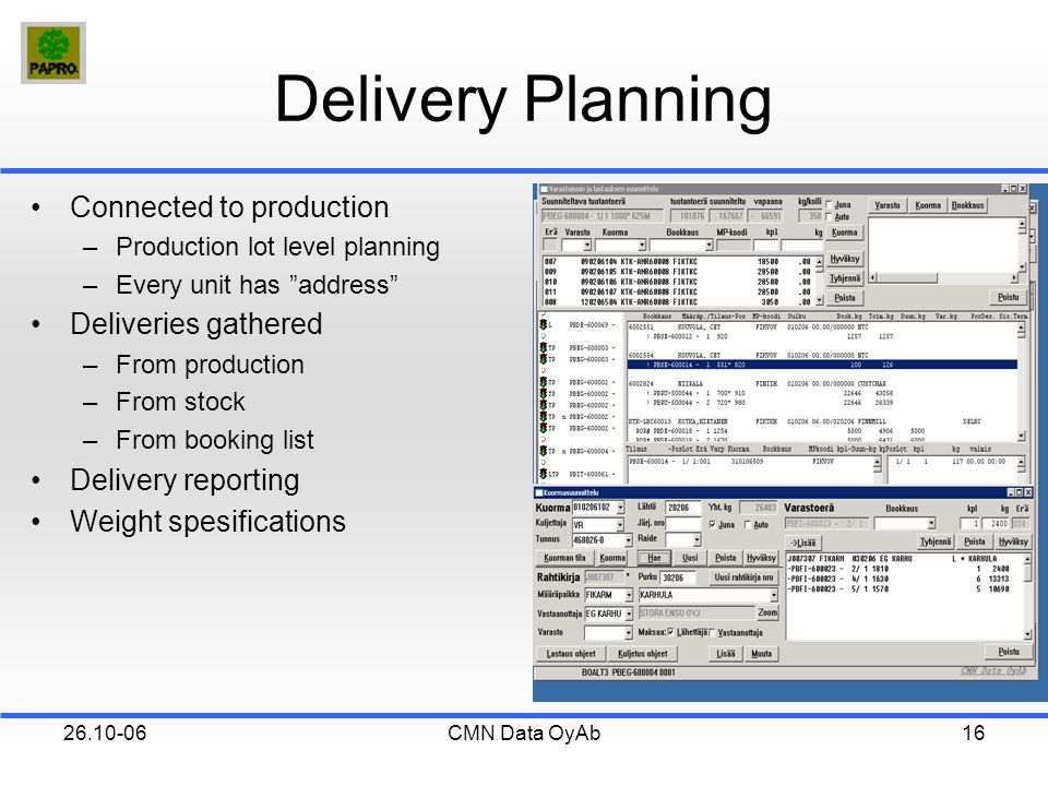 26.10-06CMN Data OyAb16 Delivery Planning Connected to production –Production lot level planning –Every unit has address Deliveries gathered –From production –From stock –From booking list Delivery reporting Weight spesifications