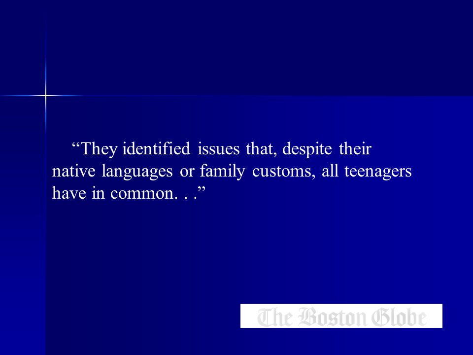 They identified issues that, despite their native languages or family customs, all teenagers have in common...