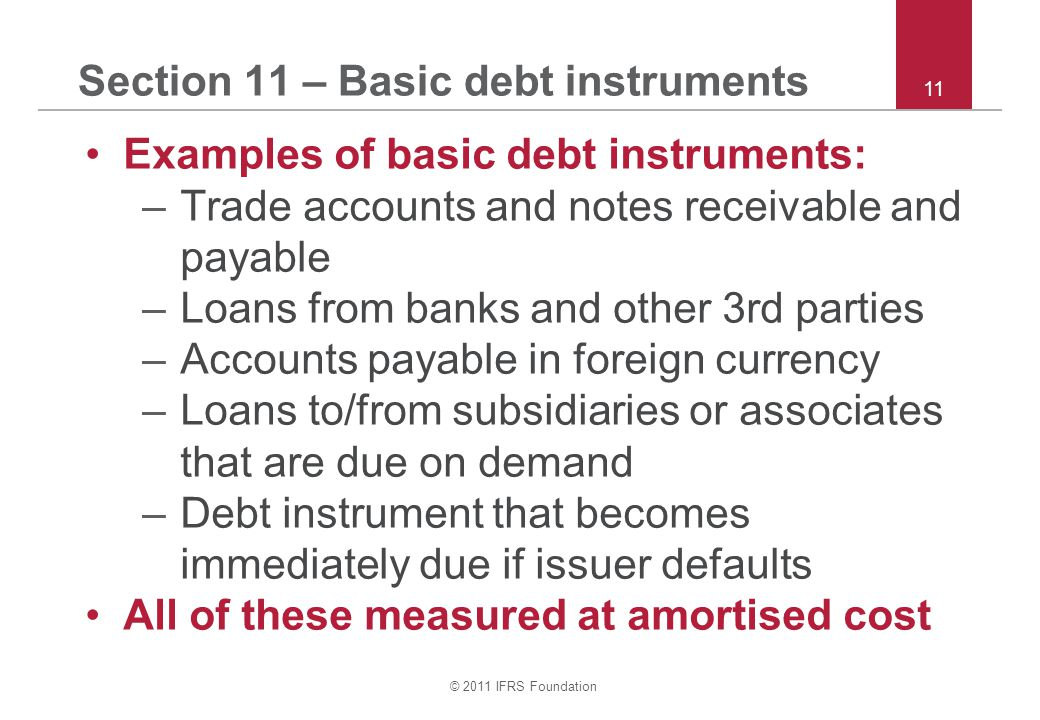 © 2011 IFRS Foundation 11 Section 11 – Basic debt instruments Examples of basic debt instruments: –Trade accounts and notes receivable and payable –Loans from banks and other 3rd parties –Accounts payable in foreign currency –Loans to/from subsidiaries or associates that are due on demand –Debt instrument that becomes immediately due if issuer defaults All of these measured at amortised cost