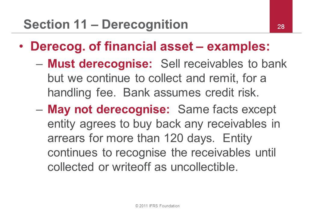 © 2011 IFRS Foundation 28 Section 11 – Derecognition Derecog.