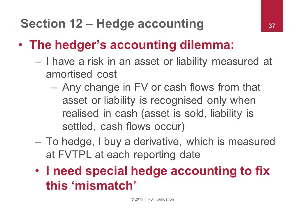 © 2011 IFRS Foundation 37 Section 12 – Hedge accounting The hedger's accounting dilemma: –I have a risk in an asset or liability measured at amortised