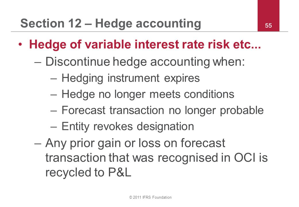 © 2011 IFRS Foundation 55 Section 12 – Hedge accounting Hedge of variable interest rate risk etc...
