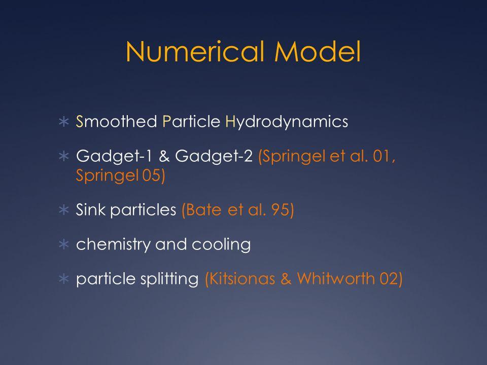 Numerical Model  Smoothed Particle Hydrodynamics  Gadget-1 & Gadget-2 (Springel et al.