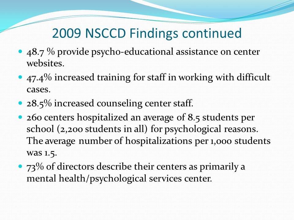 2009 NSCCD Findings continued 48.7 % provide psycho-educational assistance on center websites.