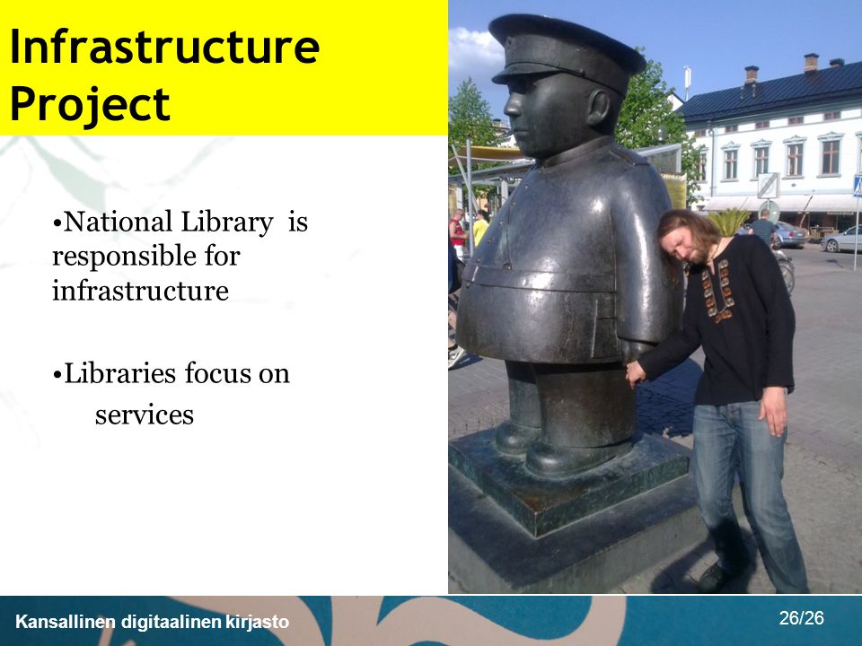 Kansallinen digitaalinen kirjasto 26/26 Infrastructure Project National Library is responsible for infrastructure Libraries focus on services