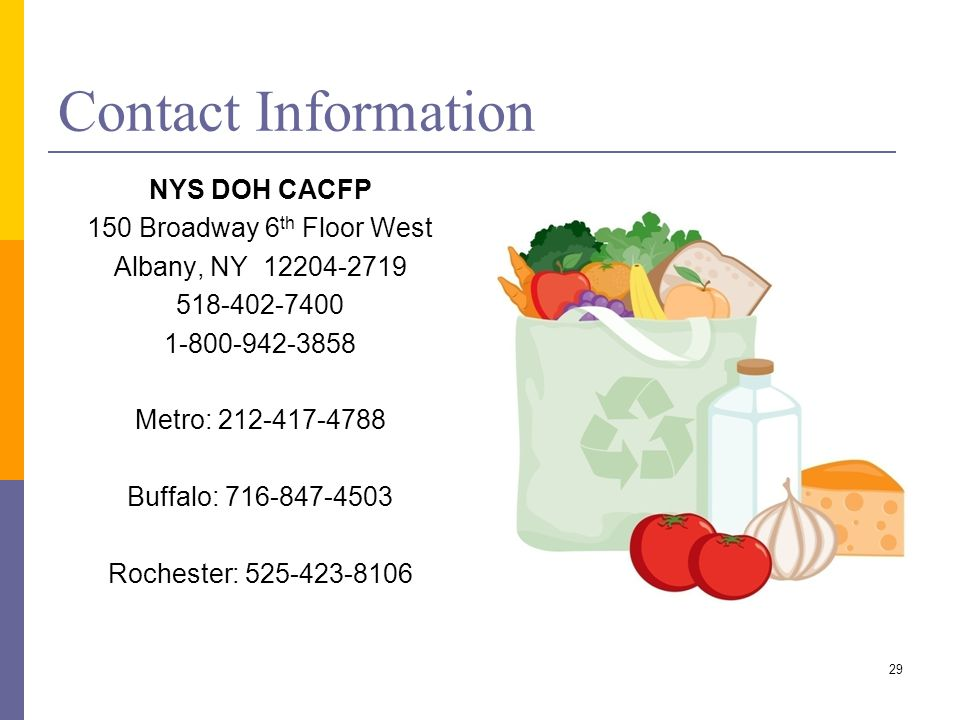 29 Contact Information NYS DOH CACFP 150 Broadway 6 th Floor West Albany, NY 12204-2719 518-402-7400 1-800-942-3858 Metro: 212-417-4788 Buffalo: 716-8