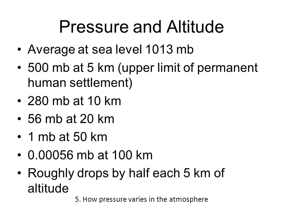 Pressure and Altitude Average at sea level 1013 mb 500 mb at 5 km (upper limit of permanent human settlement) 280 mb at 10 km 56 mb at 20 km 1 mb at 50 km 0.00056 mb at 100 km Roughly drops by half each 5 km of altitude 5.
