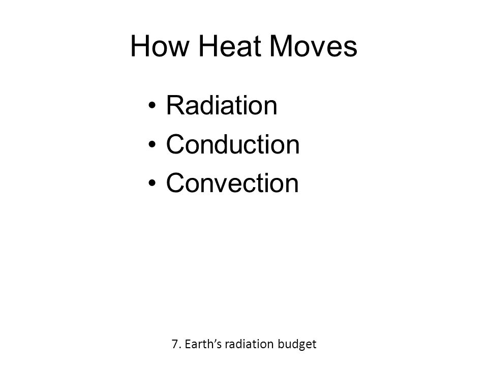 How Heat Moves Radiation Conduction Convection 7. Earth's radiation budget