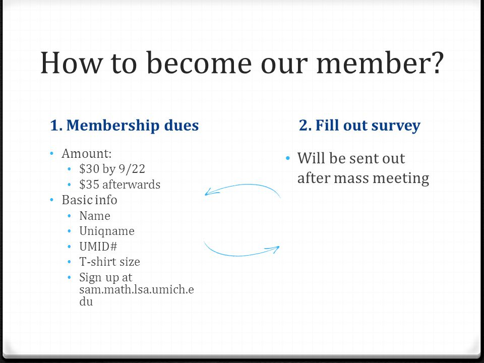 How to become our member. 1. Membership dues2.