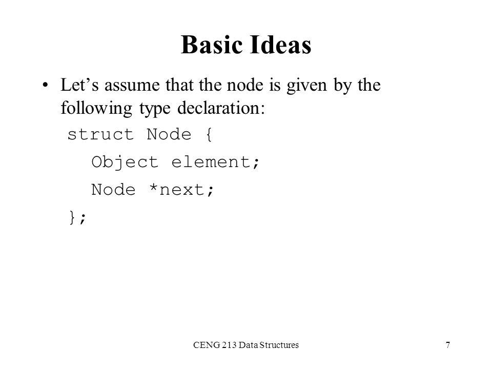 CENG 213 Data Structures8 Basic Linked List Operations List Traversal Searching a node Insert a node Delete a node