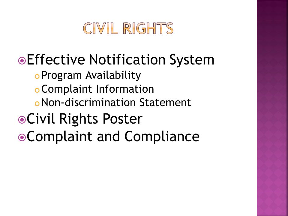  Effective Notification System Program Availability Complaint Information Non-discrimination Statement  Civil Rights Poster  Complaint and Compliance