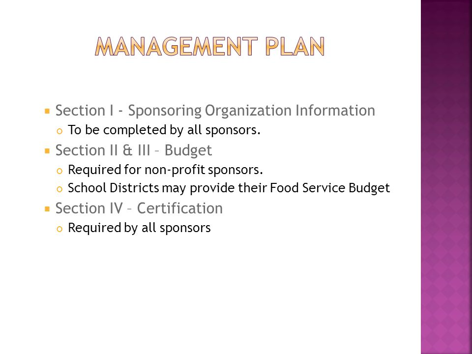  Section I - Sponsoring Organization Information To be completed by all sponsors.