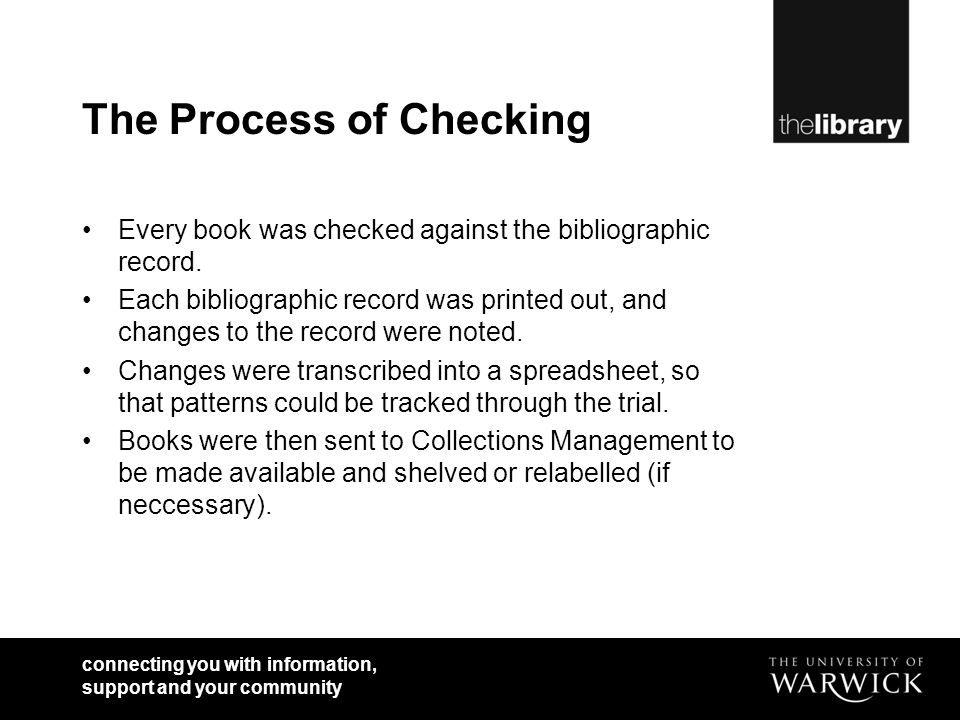 connecting you with information, support and your community The Process of Checking Every book was checked against the bibliographic record.