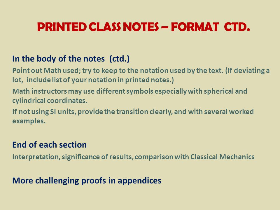 PRINTED CLASS NOTES – FORMAT CTD.