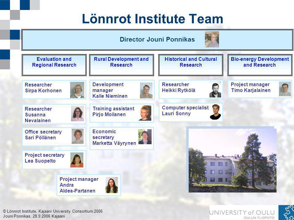 © Lönnrot Institute, Kajaani University Consortium 2006 Jouni Ponnikas, 28.9.2006 Kajaani Lönnrot Institute Team Director Jouni Ponnikas Evaluation an
