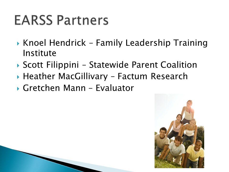  Knoel Hendrick – Family Leadership Training Institute  Scott Filippini – Statewide Parent Coalition  Heather MacGillivary – Factum Research  Gret