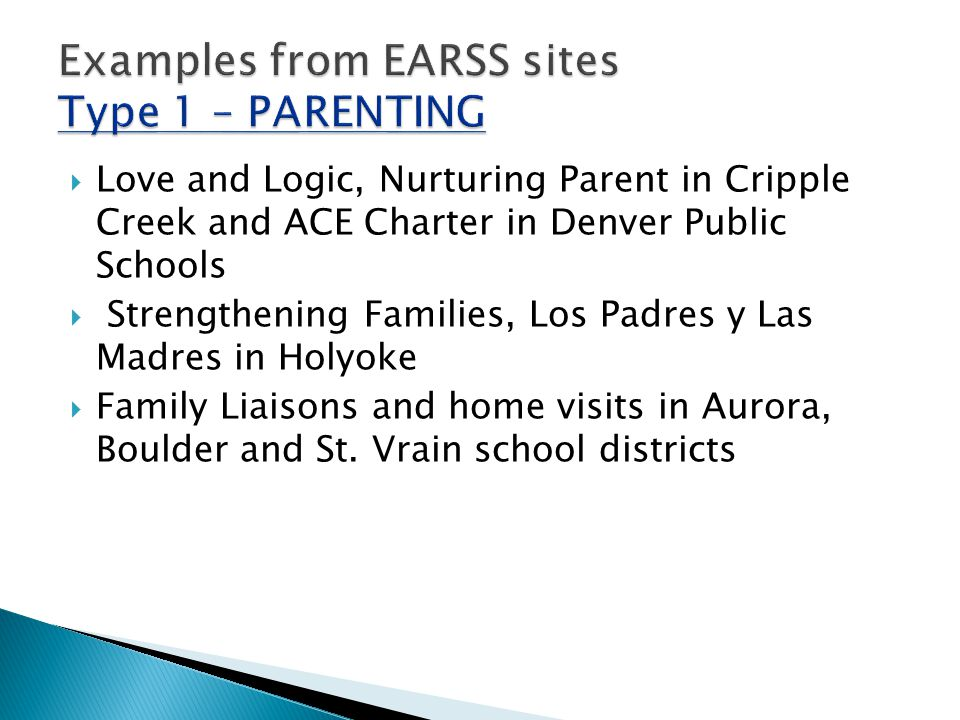  Love and Logic, Nurturing Parent in Cripple Creek and ACE Charter in Denver Public Schools  Strengthening Families, Los Padres y Las Madres in Holyoke  Family Liaisons and home visits in Aurora, Boulder and St.