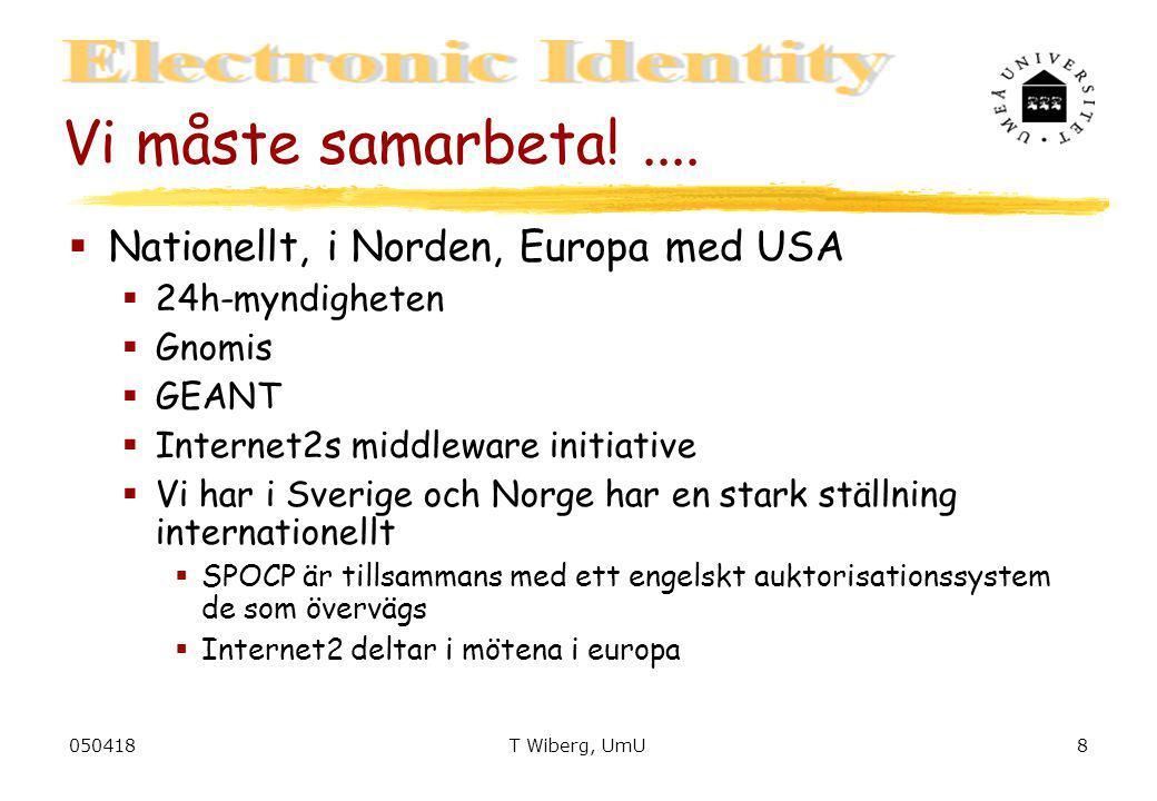 050418T Wiberg, UmU8 Vi måste samarbeta!....  Nationellt, i Norden, Europa med USA  24h-myndigheten  Gnomis  GEANT  Internet2s middleware initiat