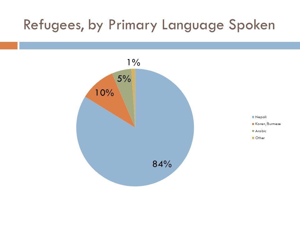 Secondary Refugees  167 Secondary Bhutanese have also been seen at the office or on the mobile unit; total of 741 Bhutanese have been seen by SHHC  56 Secondary Burmese/Karen have also been seen at the office or on the mobile unit; total of 123