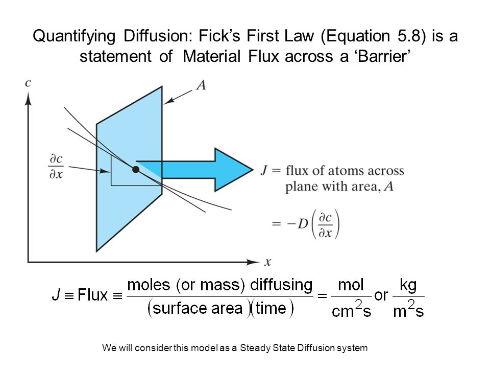 Quantifying Diffusion: Fick's First Law (Equation 5.8) is a statement of Material Flux across a 'Barrier' We will consider this model as a Steady Stat