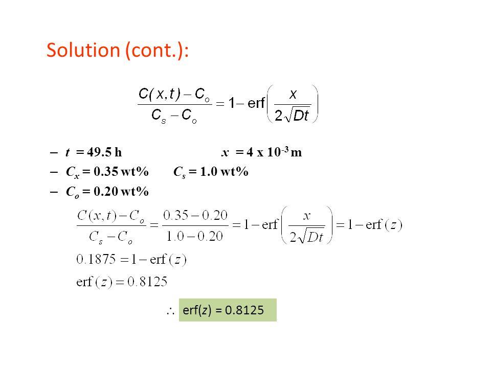 Solution (cont.): – t = 49.5 h x = 4 x 10 -3 m – C x = 0.35 wt%C s = 1.0 wt% – C o = 0.20 wt%  erf(z) = 0.8125