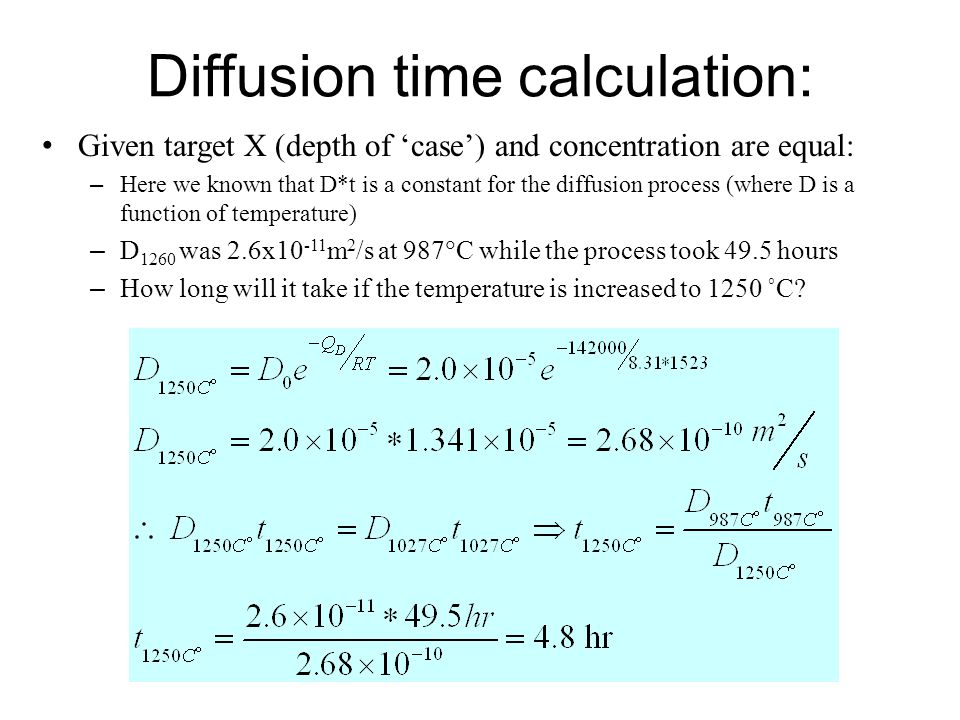 Diffusion time calculation: Given target X (depth of 'case') and concentration are equal: – Here we known that D*t is a constant for the diffusion pro