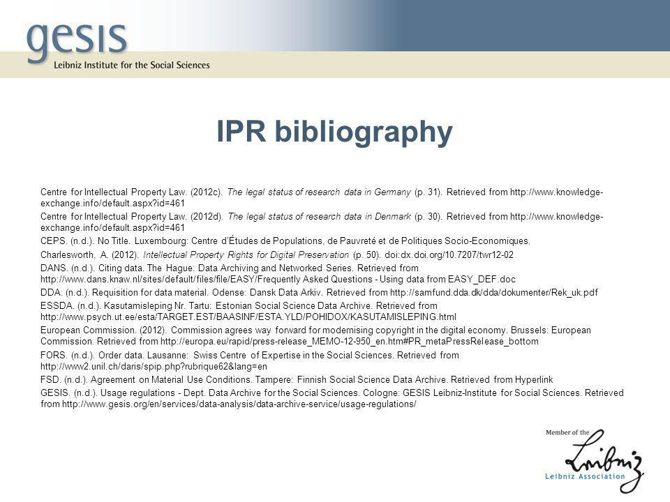IPR bibliography Centre for Intellectual Property Law.