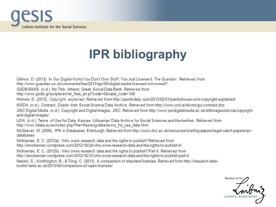 IPR bibliography Gillmor, D. (2013).