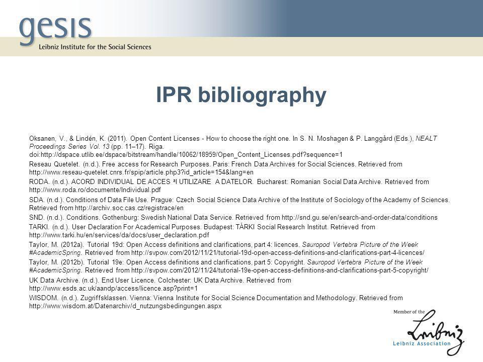 IPR bibliography Oksanen, V., & Lindén, K. (2011).