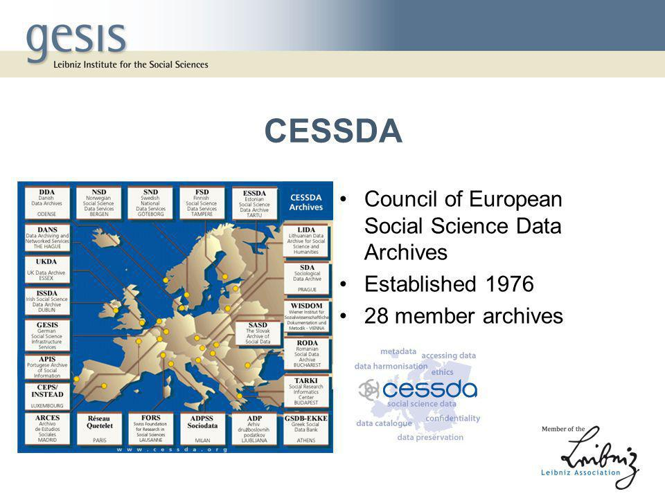 CESSDA Council of European Social Science Data Archives Established 1976 28 member archives