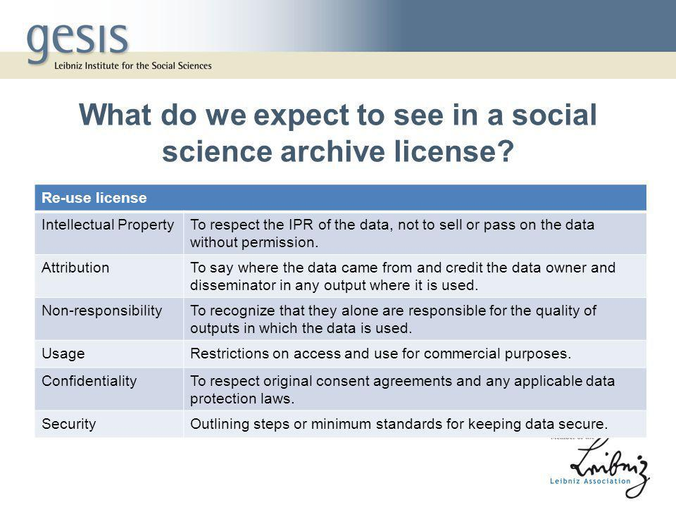 What do we expect to see in a social science archive license.