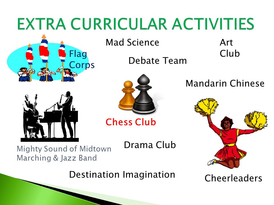 Flag Corps Mad Science Mighty Sound of Midtown Marching & Jazz Band Cheerleaders Chess Club Debate Team Art Club Mandarin Chinese Drama Club Destination Imagination