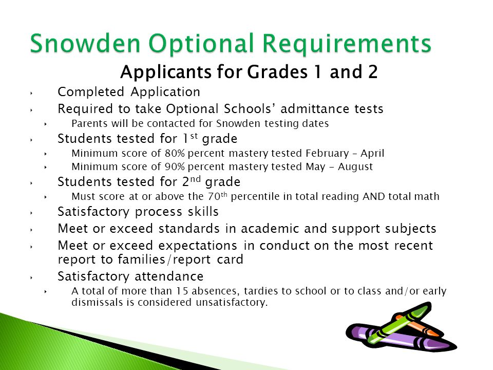 Applicants for Grades 1 and 2 ‣ Completed Application ‣ Required to take Optional Schools' admittance tests ‣Parents will be contacted for Snowden testing dates ‣ Students tested for 1 st grade ‣Minimum score of 80% percent mastery tested February – April ‣Minimum score of 90% percent mastery tested May - August ‣ Students tested for 2 nd grade ‣Must score at or above the 70 th percentile in total reading AND total math ‣ Satisfactory process skills ‣ Meet or exceed standards in academic and support subjects ‣ Meet or exceed expectations in conduct on the most recent report to families/report card ‣ Satisfactory attendance ‣A total of more than 15 absences, tardies to school or to class and/or early dismissals is considered unsatisfactory.