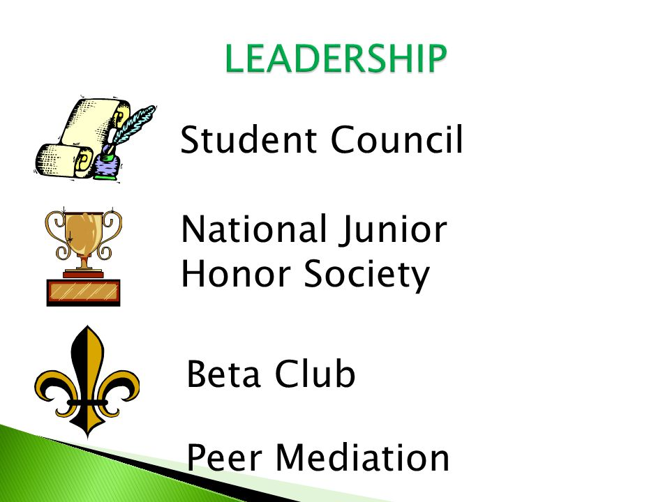 Student Council National Junior Honor Society Beta Club Peer Mediation