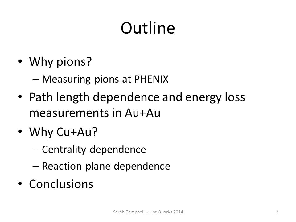 Outline Why pions? – Measuring pions at PHENIX Path length dependence and energy loss measurements in Au+Au Why Cu+Au? – Centrality dependence – React