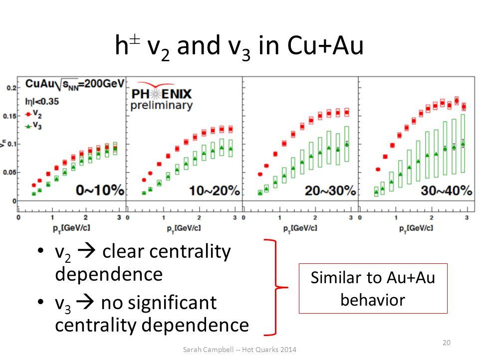 h ± v 2 and v 3 in Cu+Au v 2  clear centrality dependence v 3  no significant centrality dependence Sarah Campbell -- Hot Quarks 2014 20 Similar to Au+Au behavior