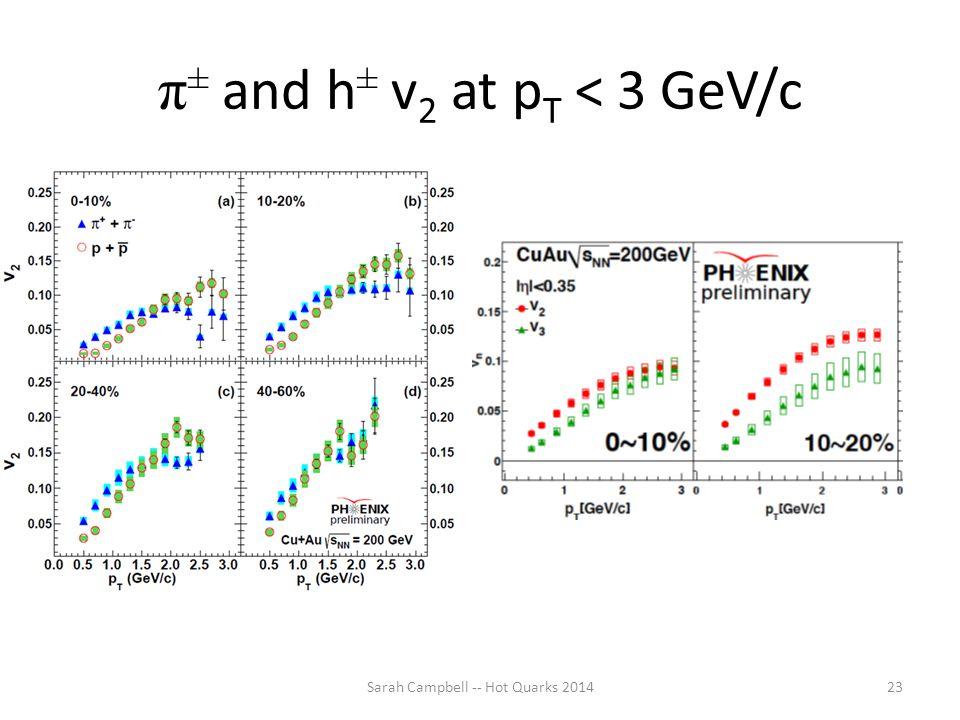 π ± and h ± v 2 at p T < 3 GeV/c Sarah Campbell -- Hot Quarks 201423