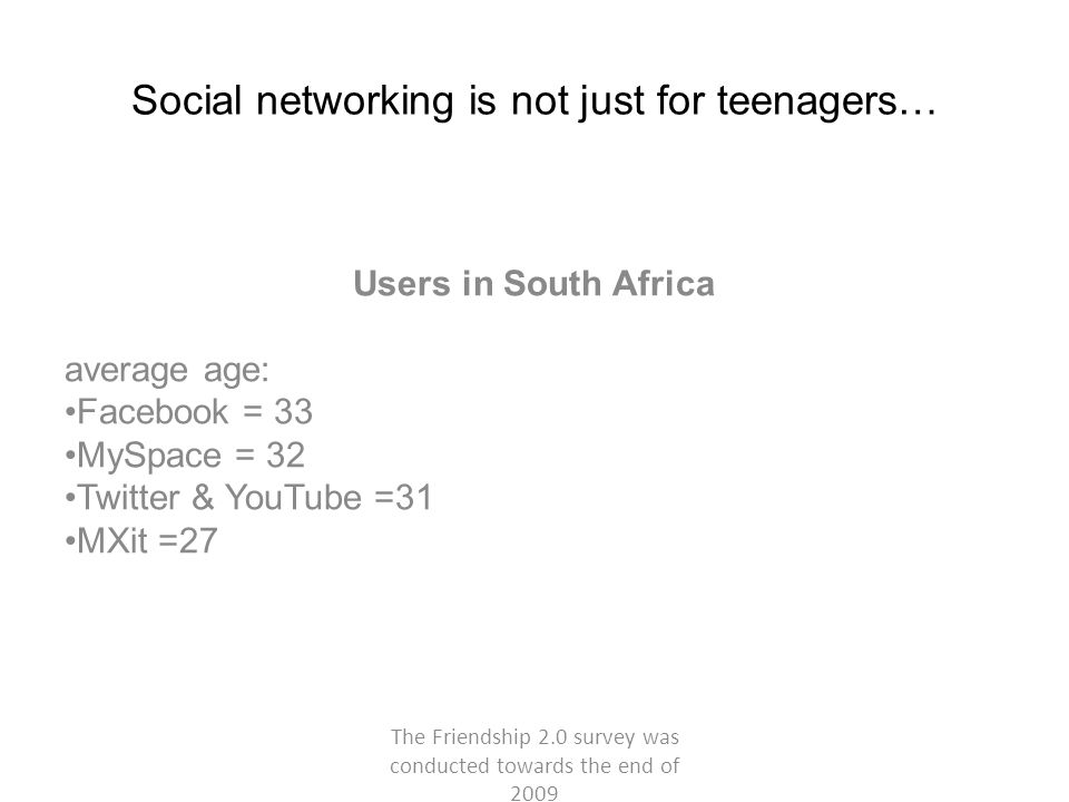 Social networking is not just for teenagers… Users in South Africa average age: Facebook = 33 MySpace = 32 Twitter & YouTube =31 MXit =27 The Friendship 2.0 survey was conducted towards the end of 2009