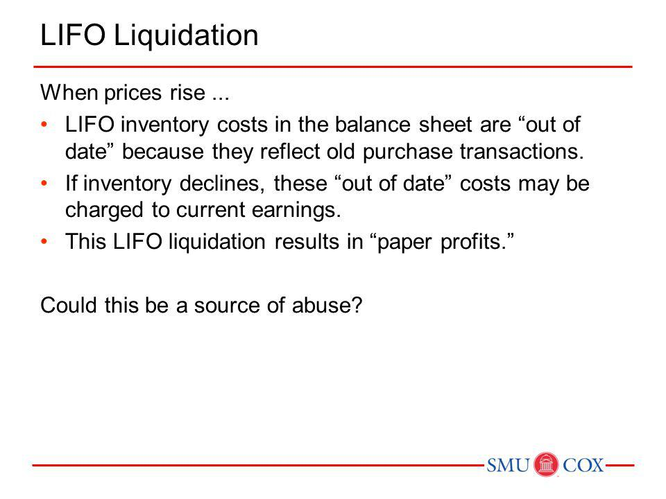 Example 3: LIFO Liquidation The Reuschel Company began 2011 with inventory of 10,000 units at a cost of $7 per unit.